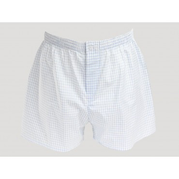 Kent - White boxers for men in blue checked cotton plus size