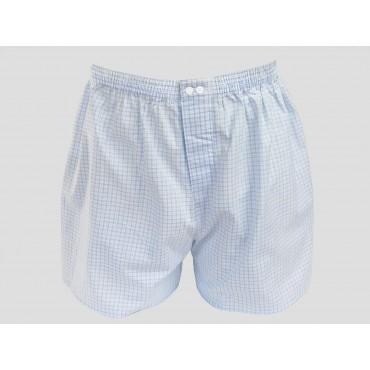Kent - Boxer da uomo in cotone bianchi a quadretti azzurri e blu taglie forti