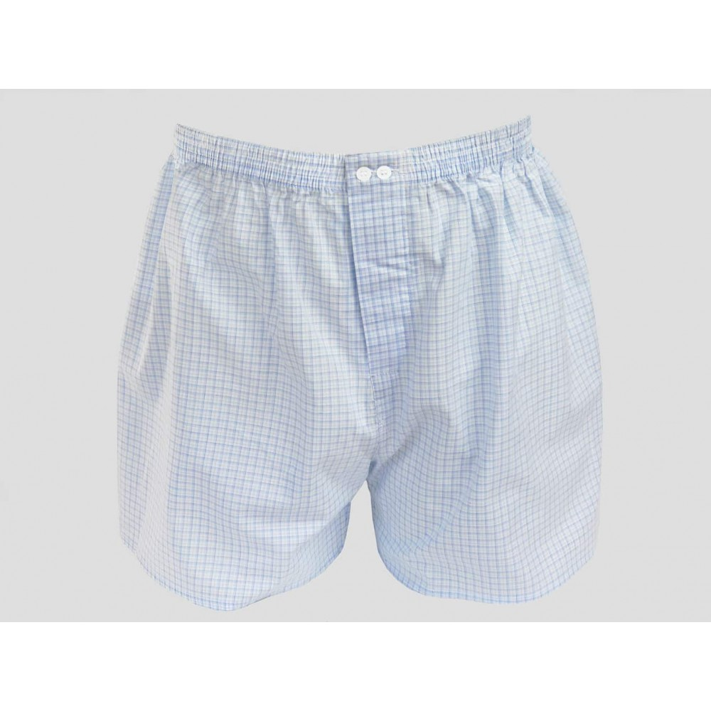 Kent - Men's boxer shorts in white cotton with light blue and blue squares