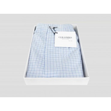 Kent - Boxer open box for men in white cotton with blue and blue squares