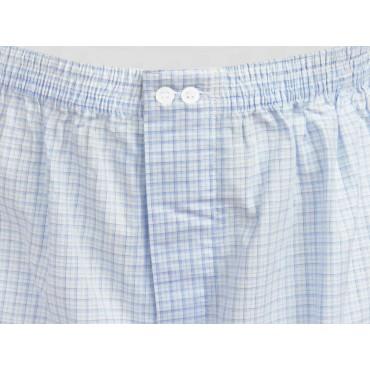 dettaglio Kent - Boxer da uomo in cotone bianchi a quadretti azzurri e blu taglie forti