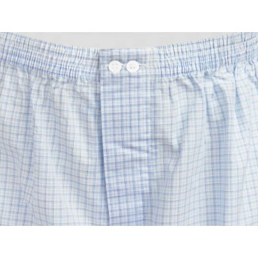 Kent detail - Men's boxer shorts in white cotton with light blue and blue squares