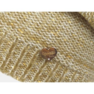 dettaglio - cappello da donna finissaggio mohair con lurex e cuoricino oro