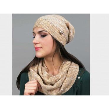 cappello e sciarpa da donna finissaggio mohair con lurex