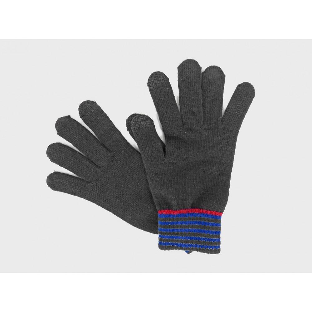 Grigio - Guanti da uomo elasticizzati touchscreen con polso rigato