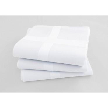 Varianti - Versailles - fazzoletti di cotone da uomo bianchi con riga di raso larga