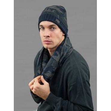Modello - Cappello e sciarpa da uomo jacquard mimetico