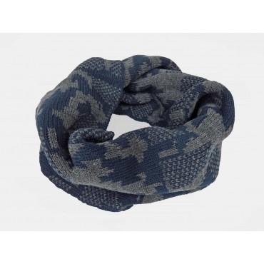 Blu- sciarpa ad anello da uomo jacquard mimetico