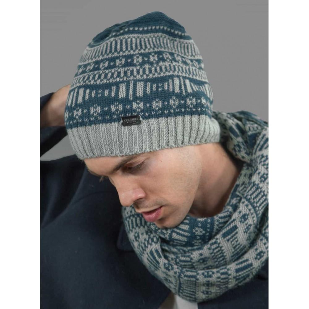 Cappello e sciarpa da uomo morbido con motivi geometrici
