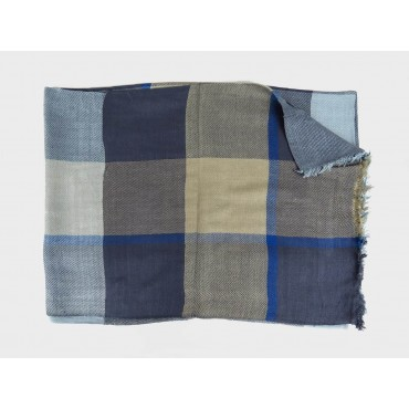 Blue tone checkered scarf in design box open
