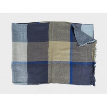 Blue tone checkered scarf in design box open