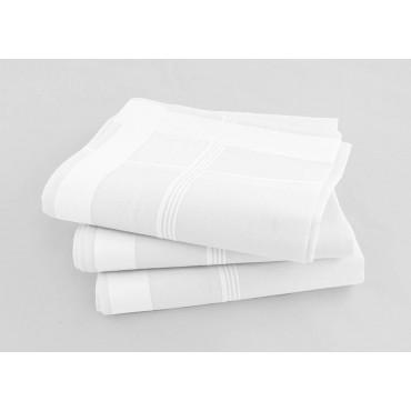 Varianti - Versailles - fazzoletti di cotone da uomo bianchi con molteplici righe di raso