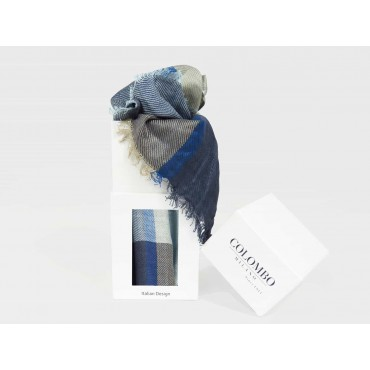 Blue tone checkered scarf in design box- box