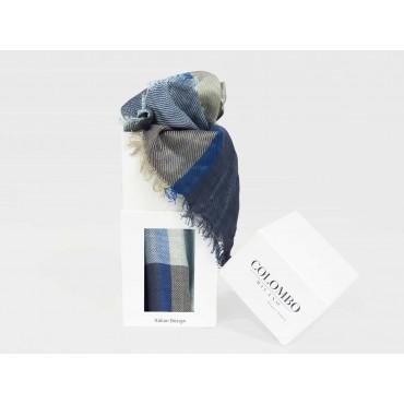 Blue tone checkered scarf in design box- box