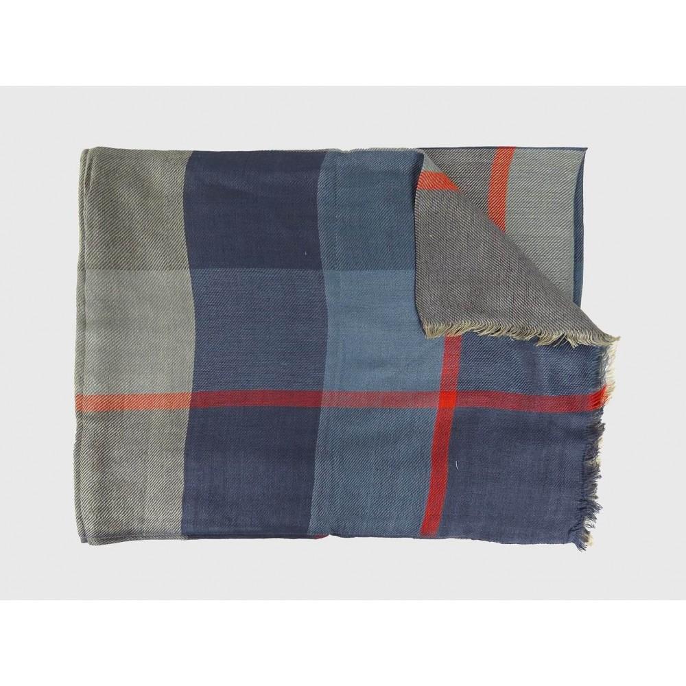 Sciarpa leggera a quadri blu e arancio
