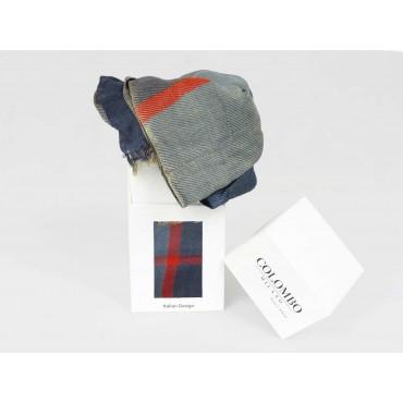 scatola - Sciarpa leggera a quadri blu e arancio