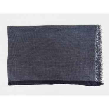 Elegant midnight blue scarf in design box open