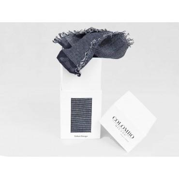 Elegant midnight blue scarf in design box - box