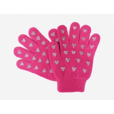 guanti da bimba rosa con cuori glitter argento