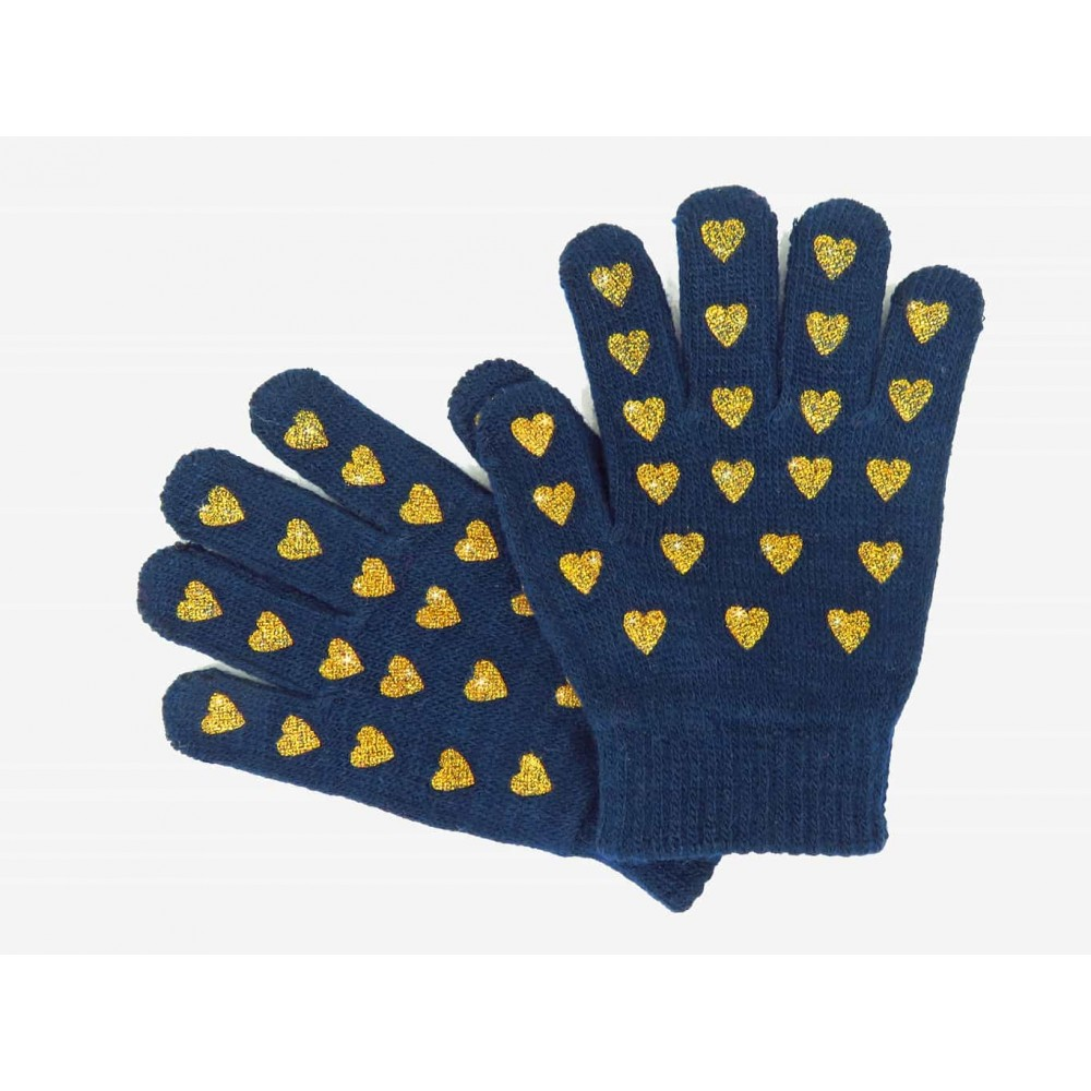 guanti da bimba blu con cuori glitter oro