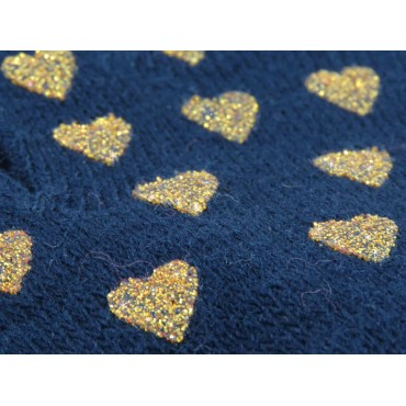 detail blue baby gloves with gold glitter hearts