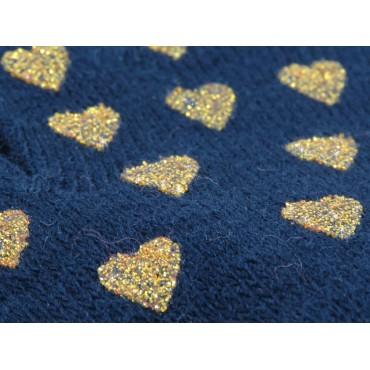 dettaglio guanti da bimba blu con cuori glitter oro