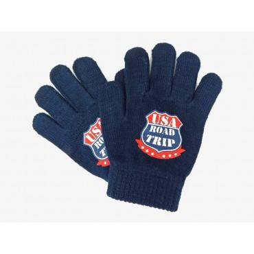 guanti da bimbo blu con stampa USA