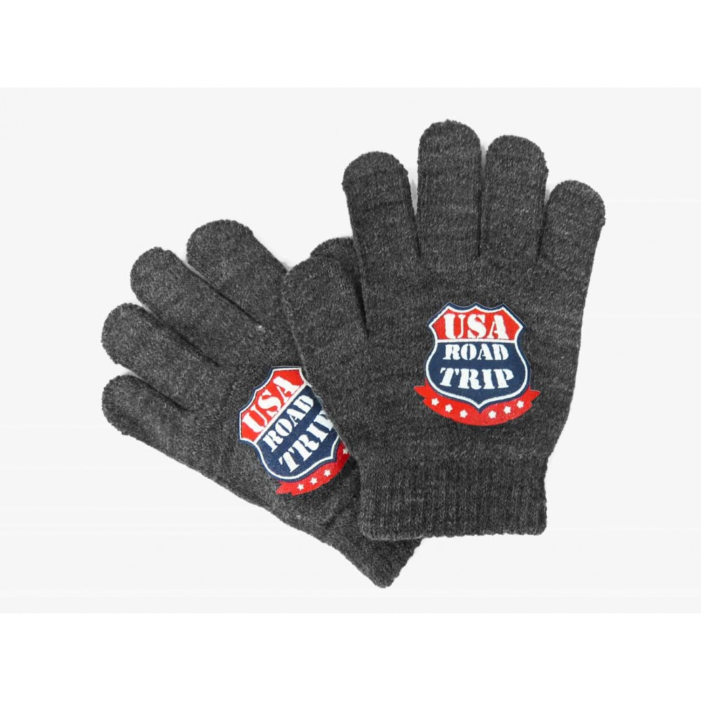 guanti da bimbo grigio con stampa USA
