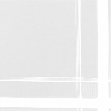 Dettaglio - Versailles - fazzoletto di cotone da uomo bianco con molteplici righe di raso