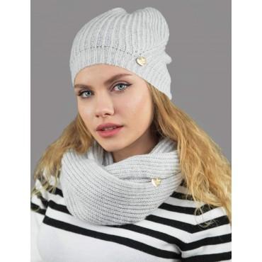 Cappello e sciarpa ad anello finissaggio mohair colori delicati