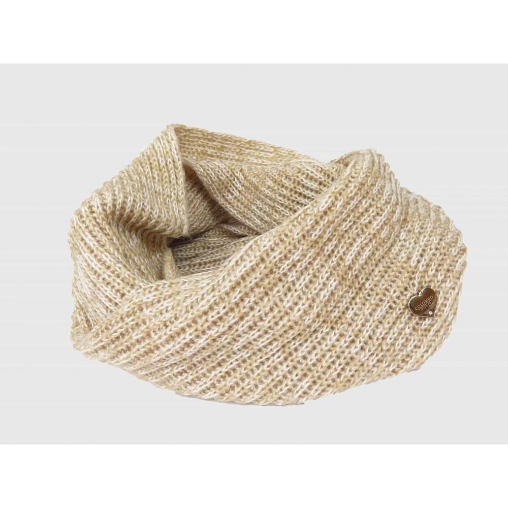 beige - sciarpa ad anello finissaggio mohair colori delicati