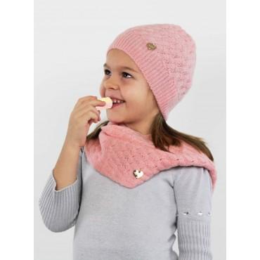 Cappello e sciarpa rosa morbido a spicchi da bimba