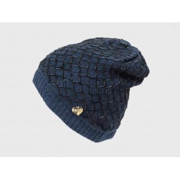 Blu - cappello da donna lavorato a rete e rombi con lurex con medaglietta a forma di cuore