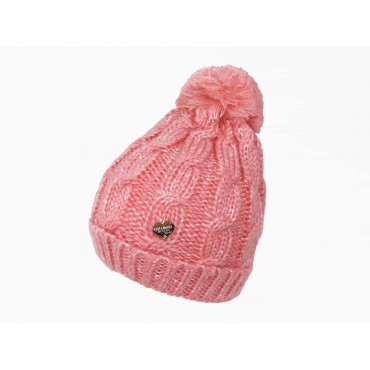 Pink cable hat with lurex for girls