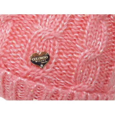 Detail - Pink cable hat with lurex for girls