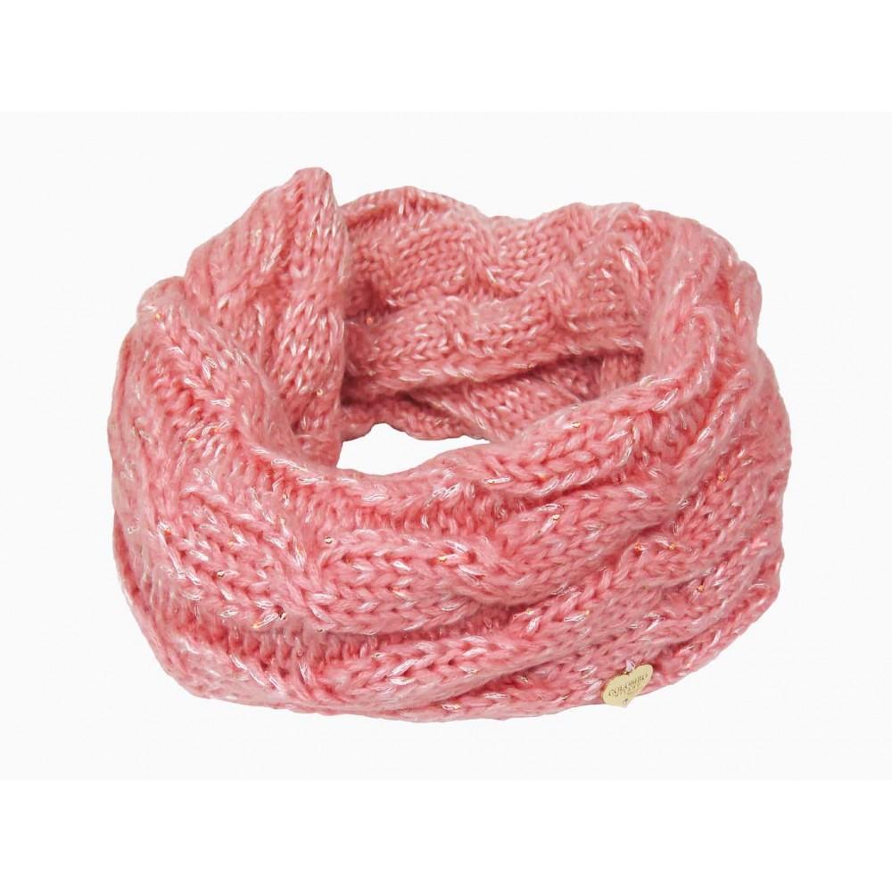 Sciarpa ad anello rosa a trecce con lurex da bimba