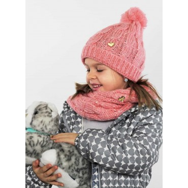 Cappello e sciarpa rosa a trecce con lurex da bimba