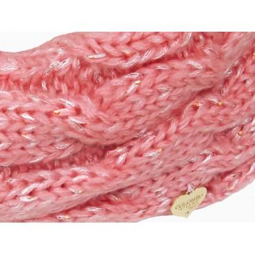 Dettaglio - Sciarpa ad anello rosa a trecce con lurex da bimba