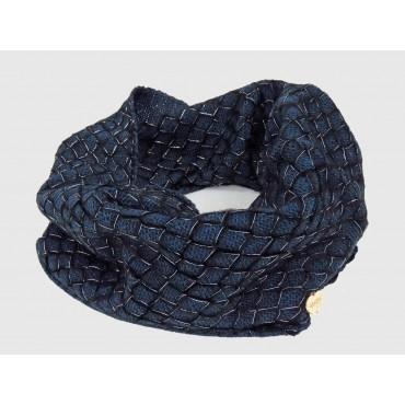 Blu - sciarpa ad anello da donna lavorata a rete