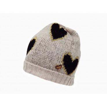 beige - Cappello morbido a cuori da bimba
