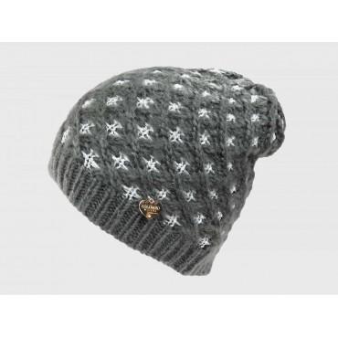 Grigio - cappello a intreccio con lurex argento
