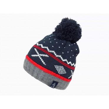 rosso - cappello jacquard da bimbo con pompon e motivi geometrici