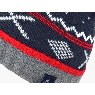 Dettaglio  - cappello jacquard da bimbo con pompon e motivi geometrici