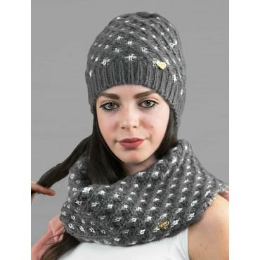 Cappello e scaldacollo a intreccio con lurex argento