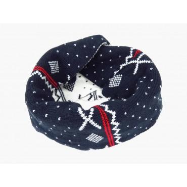 Rosso - sciarpa ad anello jacquard da bimbo con motivi geometrici