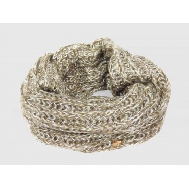Soft infinity scarf with sequins and lurex mud beige color