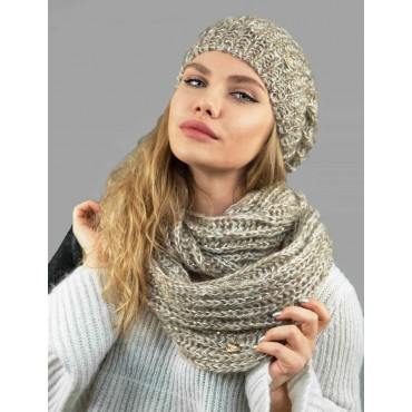 Soft infinity scarf with sequins and lurex model