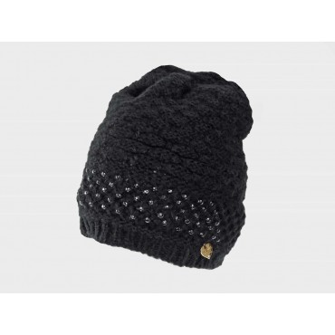 Knitted hat with hand-stitched rhinestones black