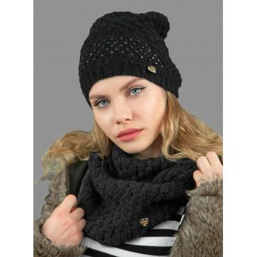 Sciarpa ad anello e berretto da donna lavorato a maglia con brillantini