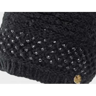 Dettaglio cuoricino - berretto da donna lavorato a maglia con brillantini
